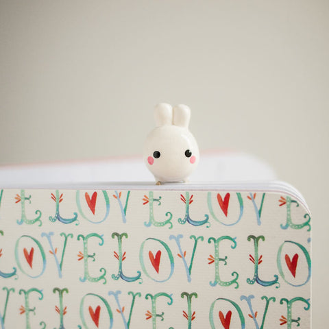 Cream White Bunny Rabbit Charm on Gold Planner Paperclip Bookmark