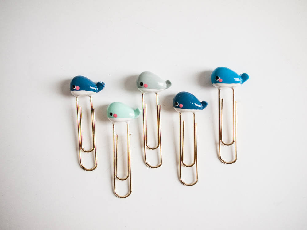Cute Ocean Blue Whale Charm on Gold Planner Paperclip Bookmark