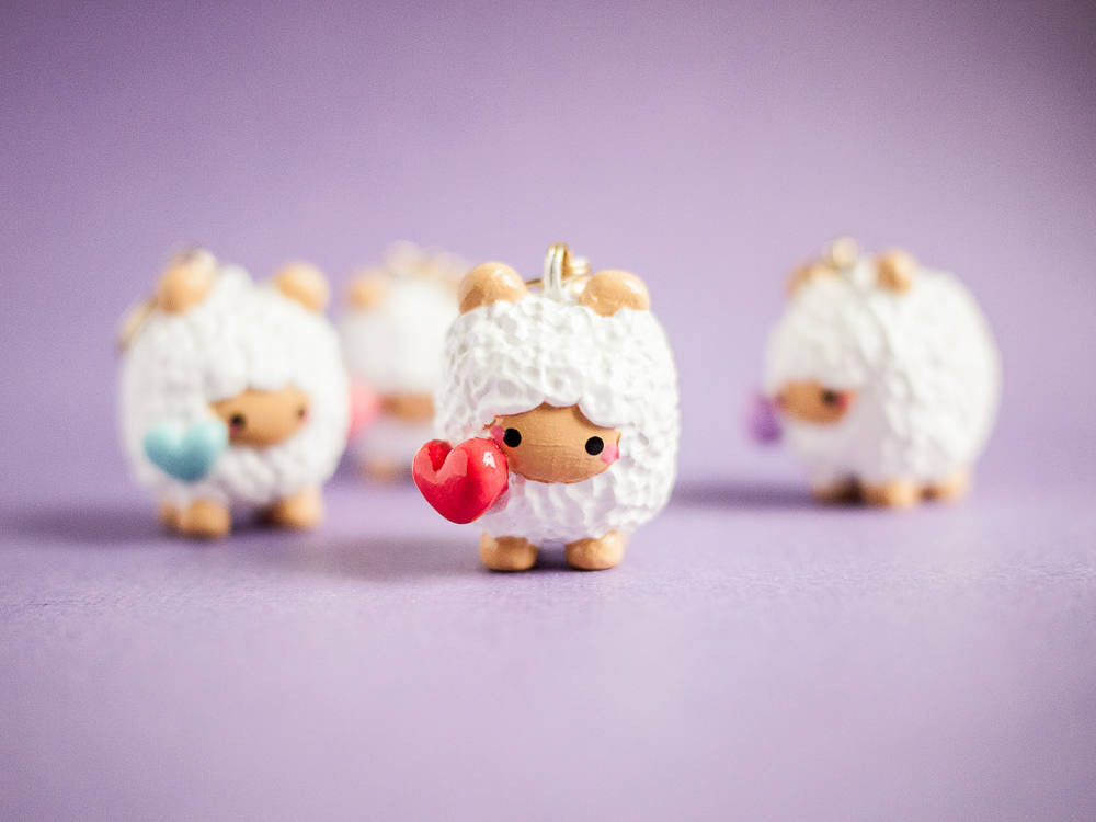 Cute Sheep with Red Heart Love Keychain Planner Charm