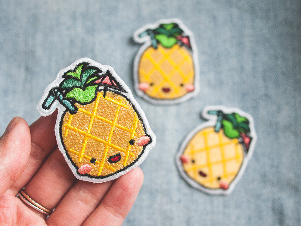 Happy Summer Drink Pineapple Iron-on Embroidered Patch