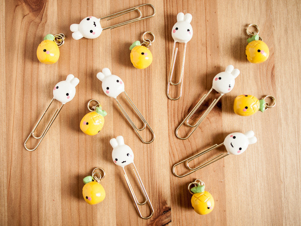 Smiling Cream Bunny Rabbit Gold Planner Paperclip Bookmark