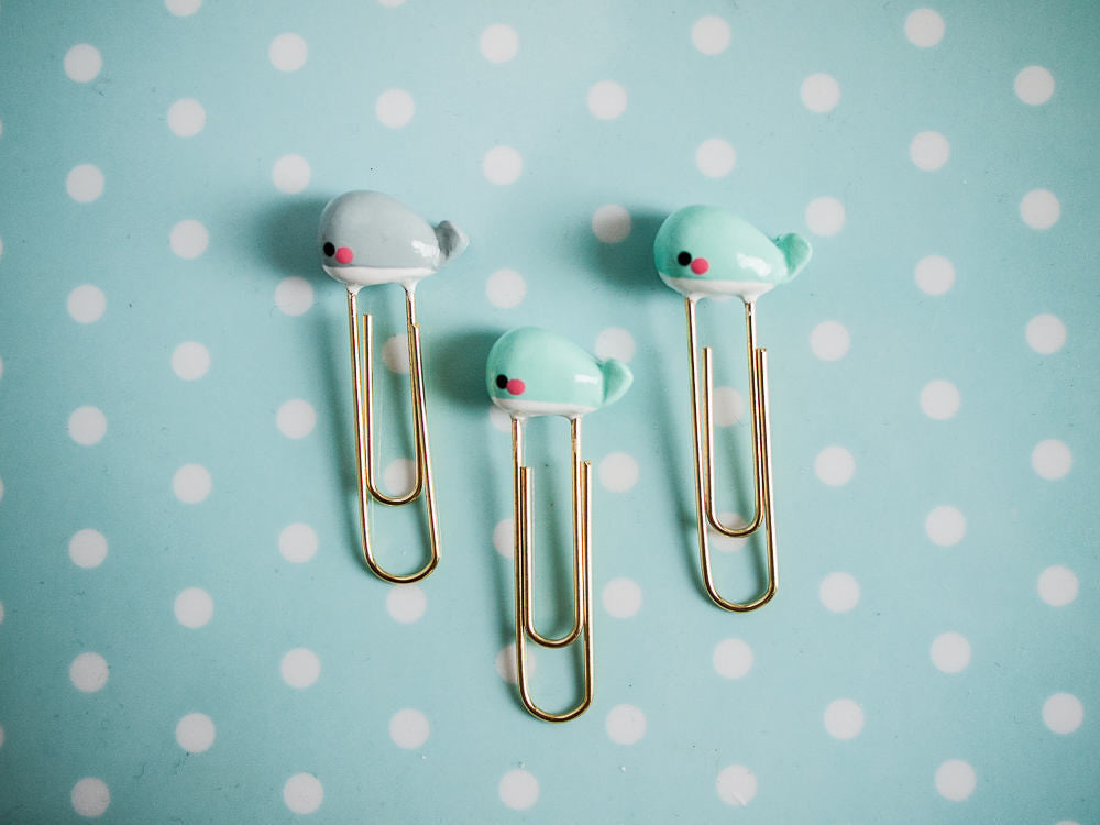 Mint Whale Charm on Gold Planner Paperclip Bookmark