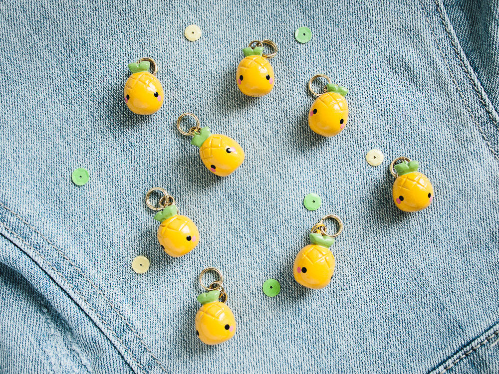 Cute Mini Yellow Pineapple Charm Phone Plug Accessory