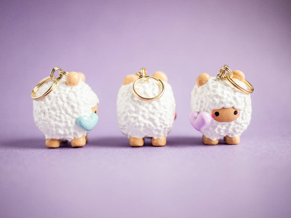 Cute Fluffy Sheep with Pastel Blue Heart Keychain Planner Charm