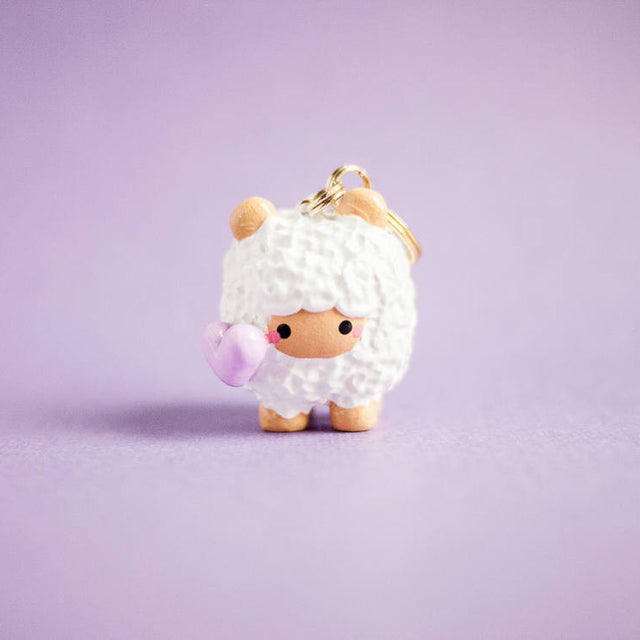 Cute Sheep with Purple Heart Love Keychain Planner Charm