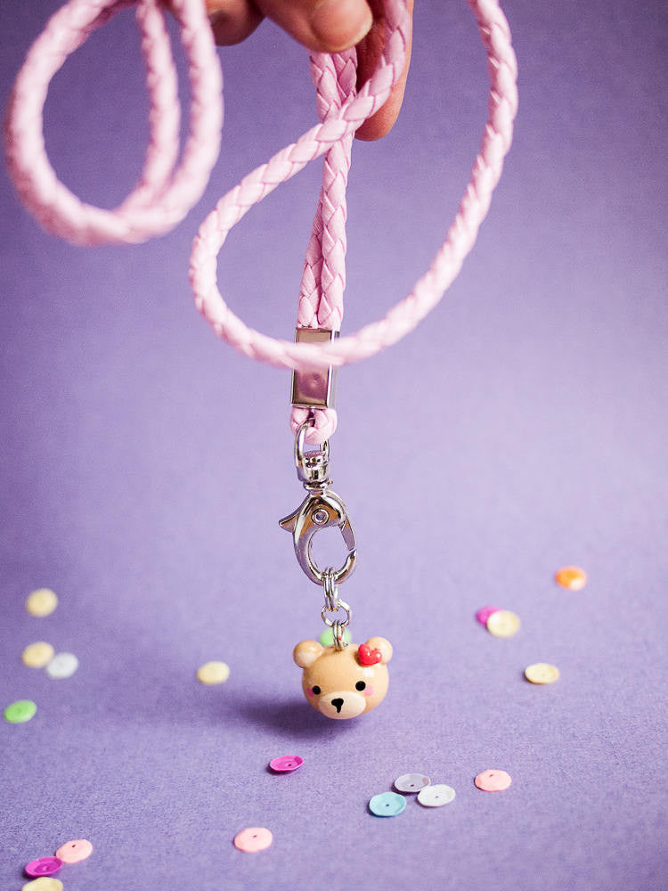 Pink Heart Teddy Bear with Pink Phone Strap Lanyard Accessory