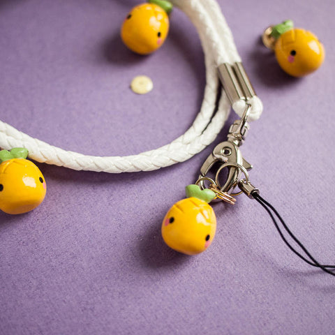 Cute Yellow Pineapple Charm with White Phone Lanyard Accessory