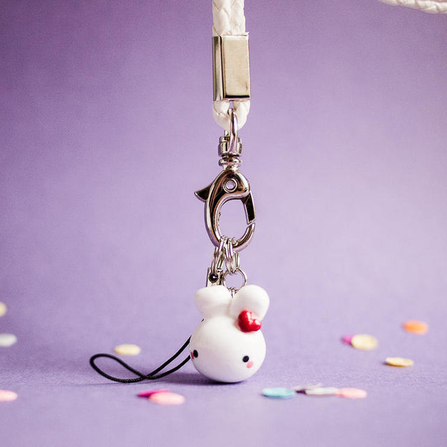 Cute Red Heart Bunny Rabbit with White Phone Lanyard