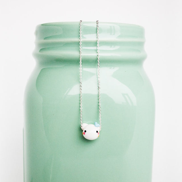 Cute Cat Pendant Charm Necklace on .999 Pure Silver Chain