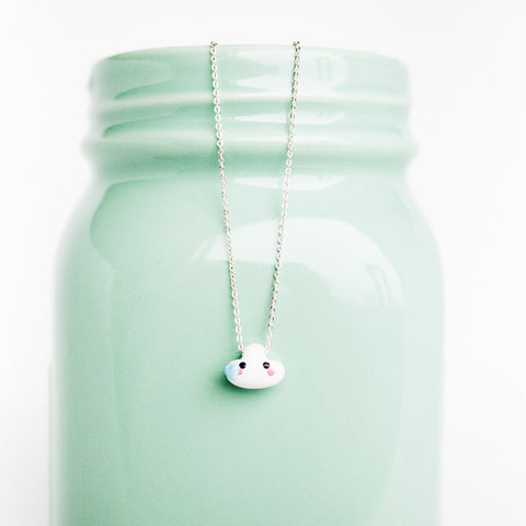 Cloud Pendant Charm Necklace on .999 Pure Silver Chain