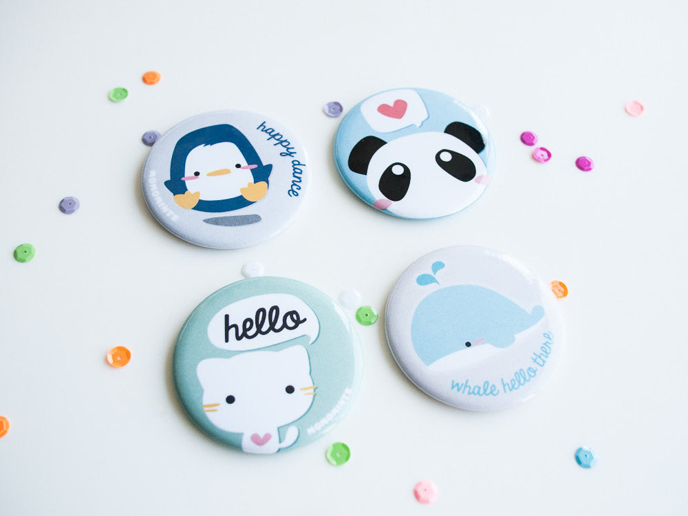 Cute Blue Panda Round Pocket Hand Mirror