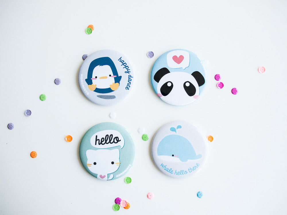 Cute Blue Pun Whale Pocket Mirror