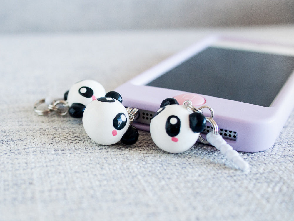 Cute Panda Bear Charm Phone Jack Plug Accessory