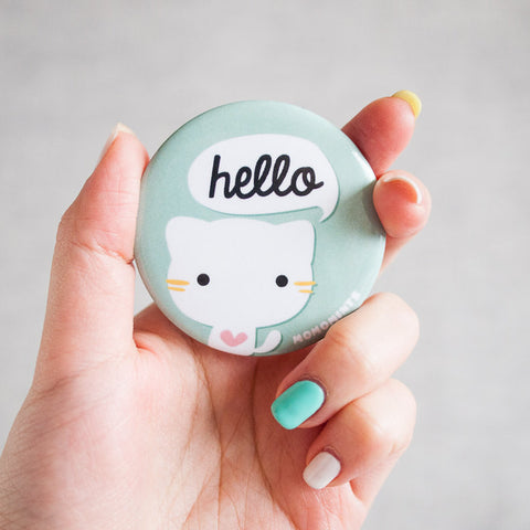 Cute Stripped Cat Round Pocket Mirror