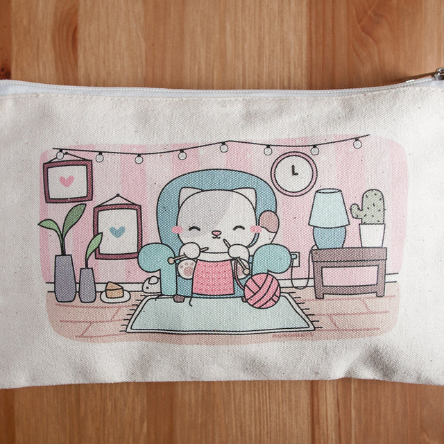 Knitting Kitty Cat with Pink Yarn - Printed Pouch with Zipper