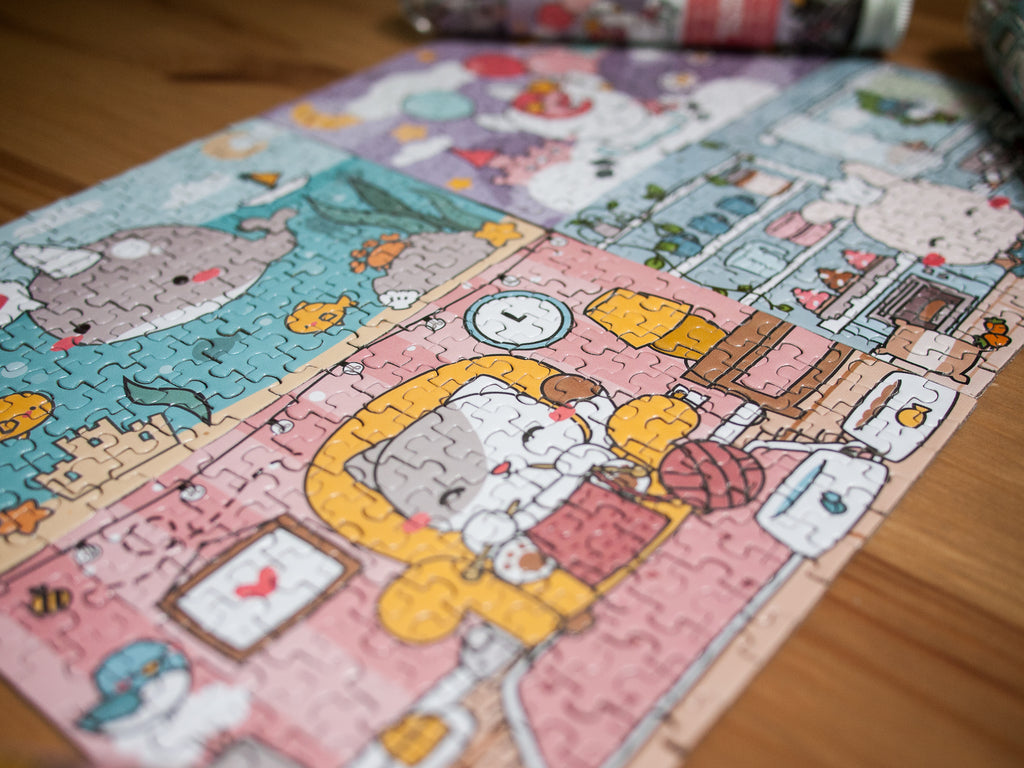 Set of 4 Kawaii Cute Narwhal Unicorn Cat and Bunny Jigsaw Puzzle