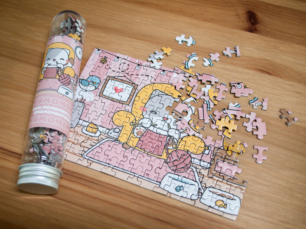 Kawaii Cute Cat Knitting at Home Jigsaw Puzzle