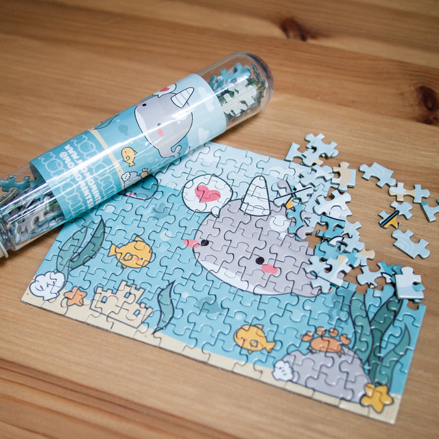 Kawaii Cute Narwhal Whale in the Sea Jigsaw Puzzle