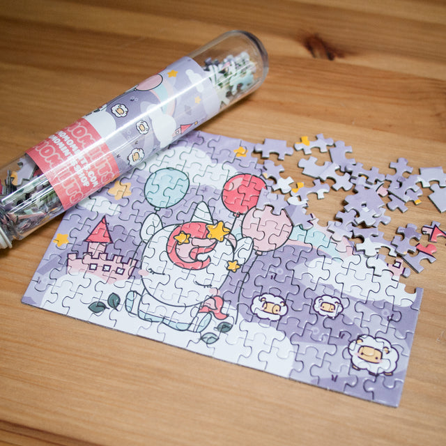 Kawaii Cute Unicorn Rainbows and Sheep Jigsaw Puzzle