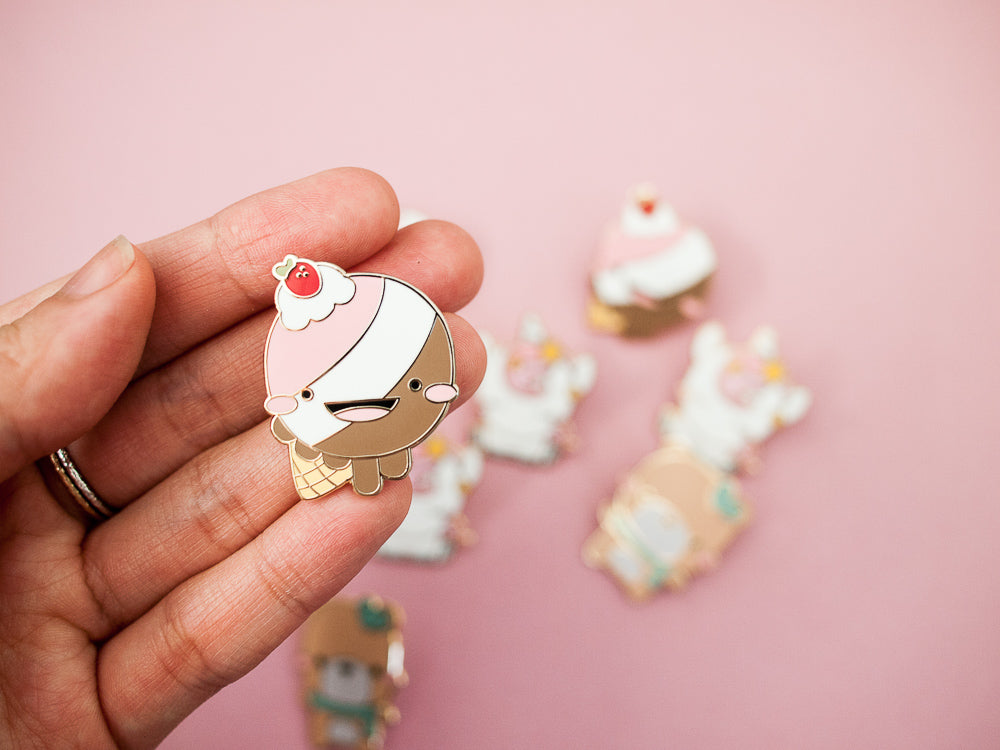 Neapolitan Icecream Cone Gold Enamel Pin