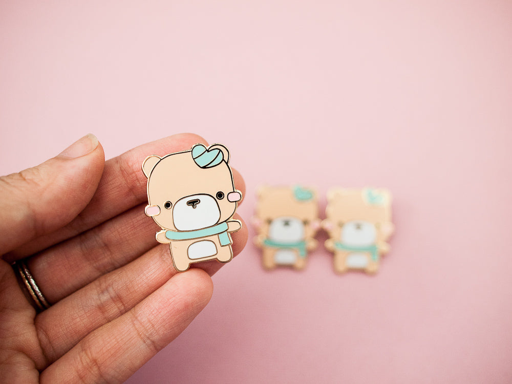 Mint Heart Teddy Bear Gold Enamel Pin