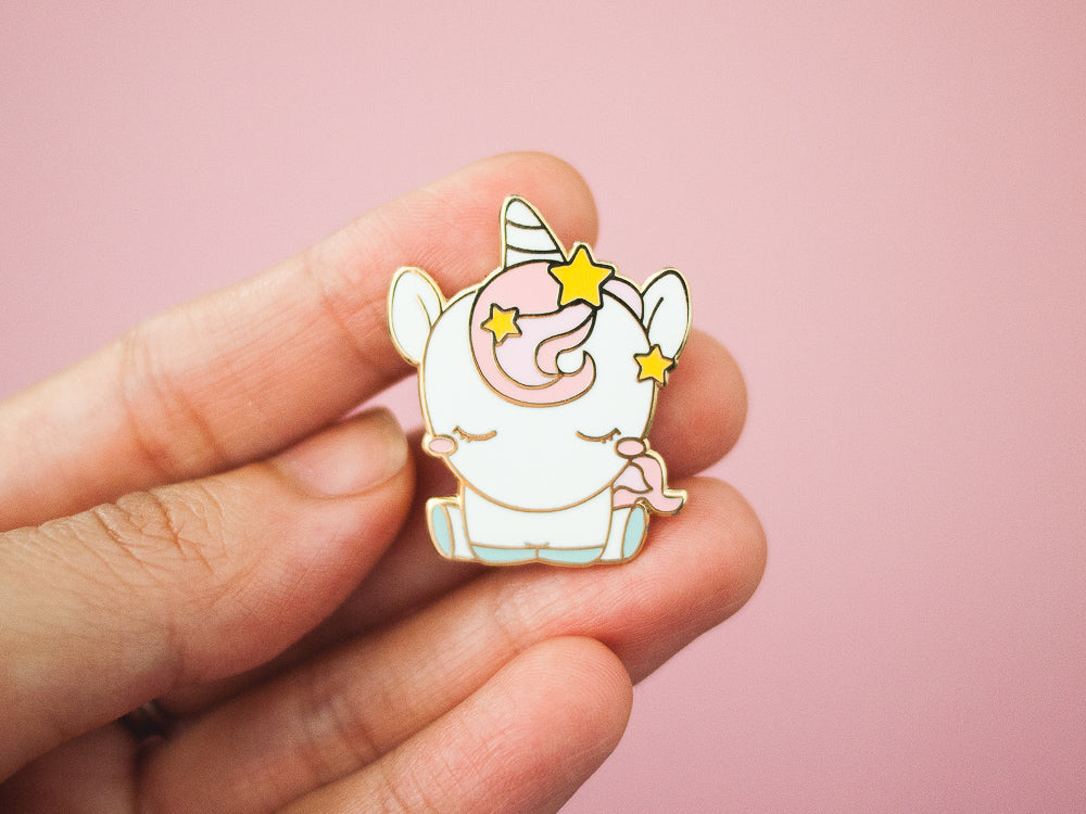 Unicorn with Pink Hair and Stars Gold Enamel Pin