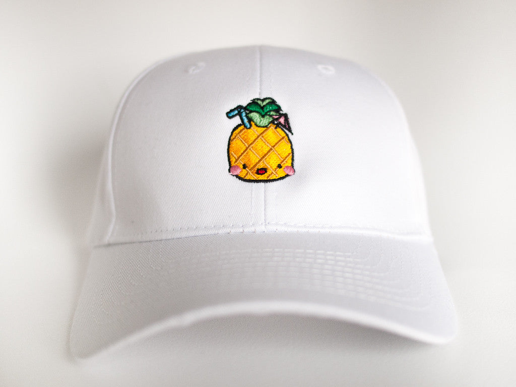 Happy Yellow Pineapple Summer Drink White Hat