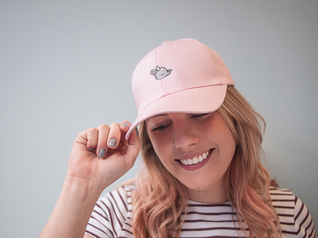 Cute Pink Narwhal Whale Hat with Heart Bubble