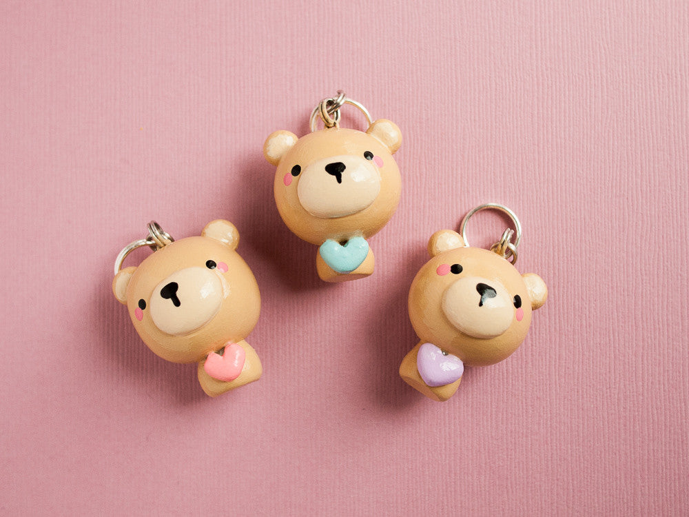 Purple Heart Cute Cub Teddy Bear Keychain Planner Charm