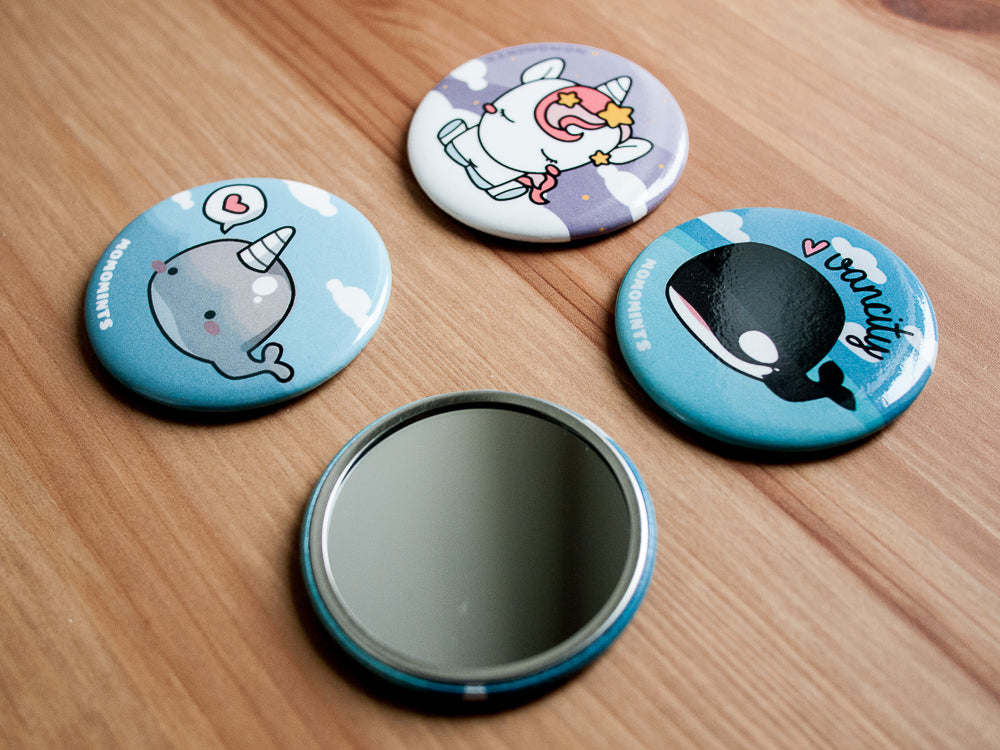 Cute Narwhal Round Pocket Hand Mirror