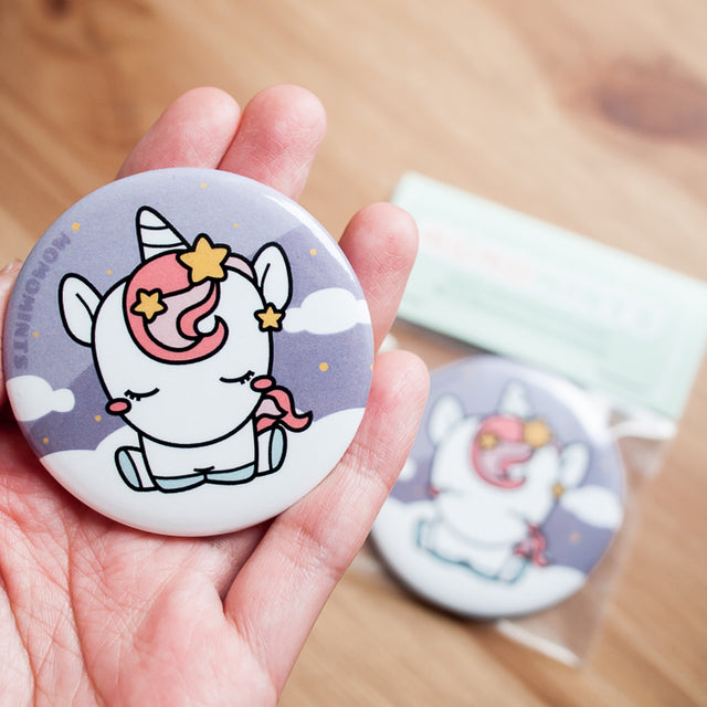 Cute Unicorn with Pink Hair Round Pocket Hand Mirror