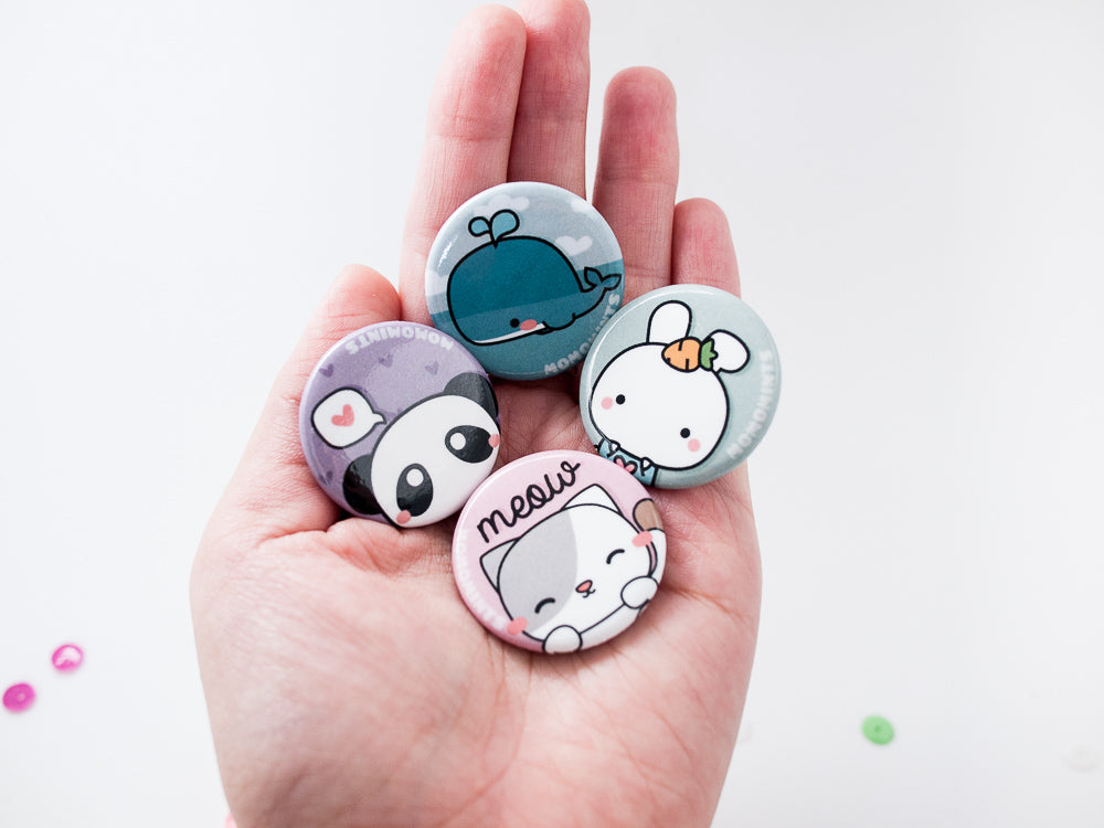 Cat, Bunny, Whale, Panda Button Pins
