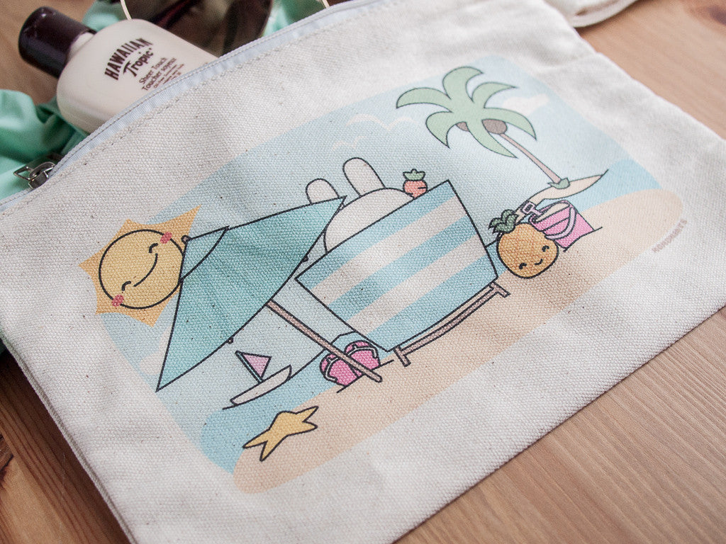 Summer Beach Bunny Printed Canvas Clutch Bag