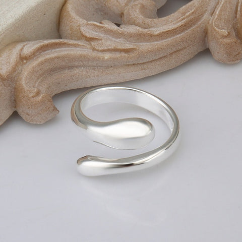 Adjustable Copper Flat Silver Plated rings For Women