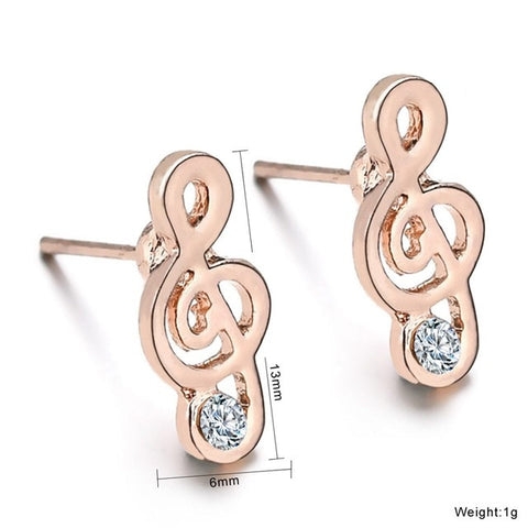 Gold Color Handmade Cz Stone Music Note Earrings For Women