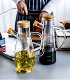 Transparent Glass Oil Bottle with Handle Scale Heat-resistant