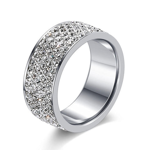 Silver Color Stainless Steel 5 Rows CZ Stone Ring for Woman