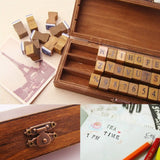 Romantic handwriting alphabet letter wooden stamp set in a wooden box