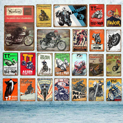 Motorcycle Metal Poster Wall Art Painting Home Decor