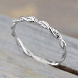 Women Twisted Shape Ring Stacking Matching Band