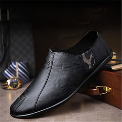 Men Leather Loafers Comfortable Anti-skid Slip-On Shoes