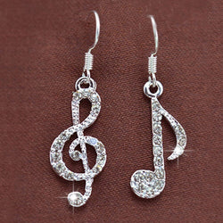 1Pair Trendy Crystal Music Notes Ear Hook