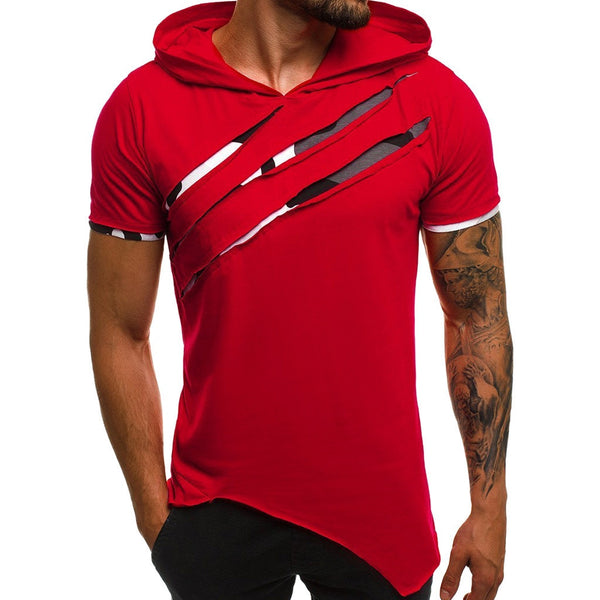 Hooded short sleeve men t-shirt