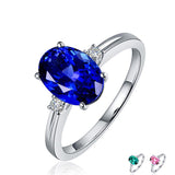 Silver 925 Ring with oval blue sapphire stone for Women