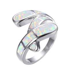 Womens White Opal Zinc Alloy Ring