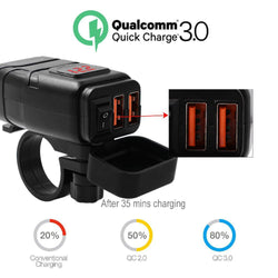 Motorcycle Vehicle-mounted Charger Waterproof USB Adapter 12V