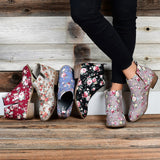 Floral Print Thick Ankle Short Boot