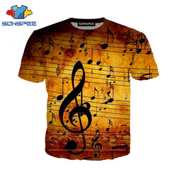 3d Music Notes fashion t-shirt