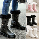 Winter Warm Plush Insole Snow Boots. Women's Mid-calf Solid Color Boots