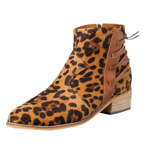 Fashion Zipper Ankle Leopard Boot